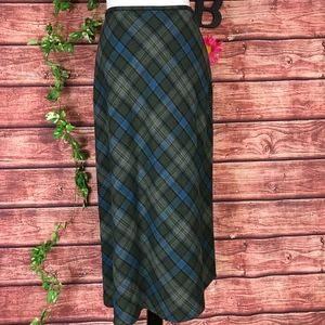 Liz Claiborne Skirt 12 Blue Gray Plaid Flannel